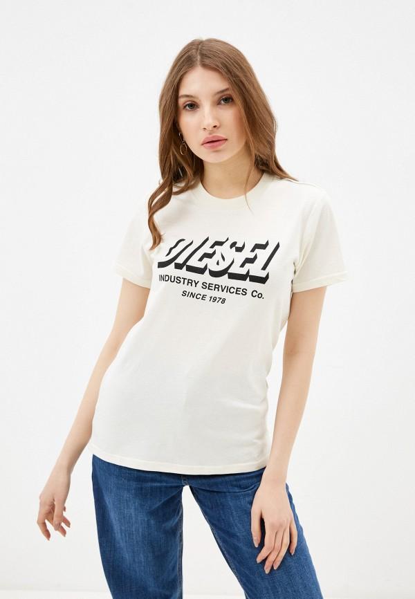 женская футболка diesel, желтая