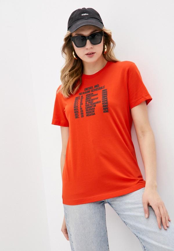 женская футболка diesel, оранжевая