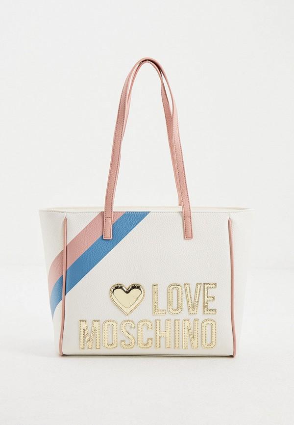 женская сумка с ручками love moschino, бирюзовая