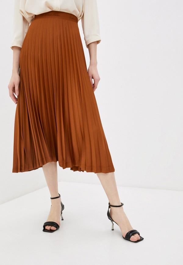 женская плиссированные юбка calvin klein, коричневая