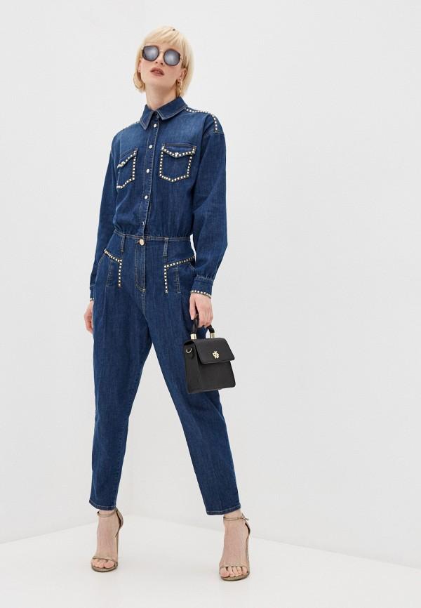 женский джинсовые комбинезон elisabetta franchi, синий