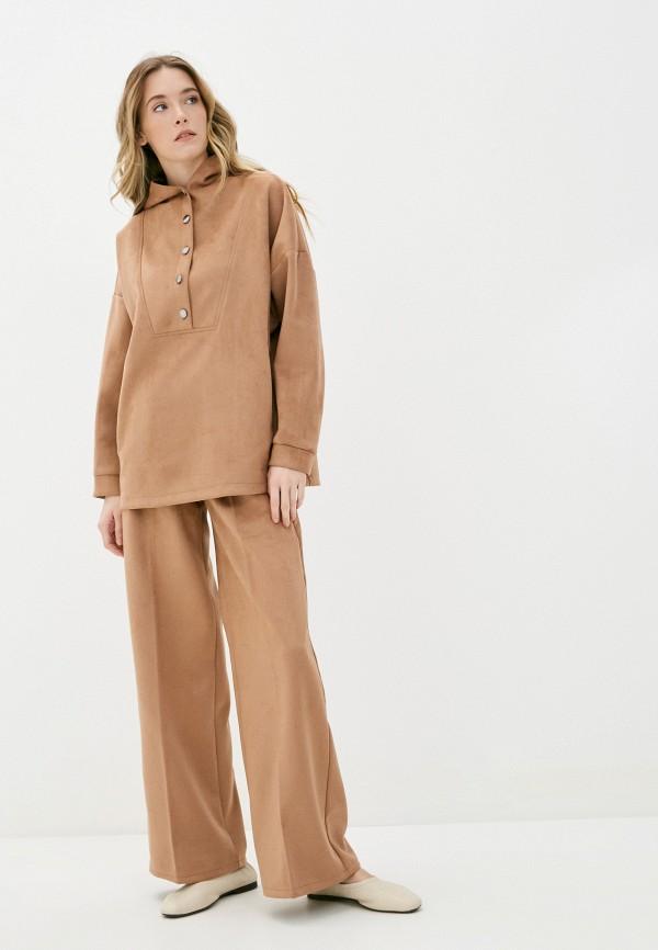 женский костюм moda sincera, коричневый
