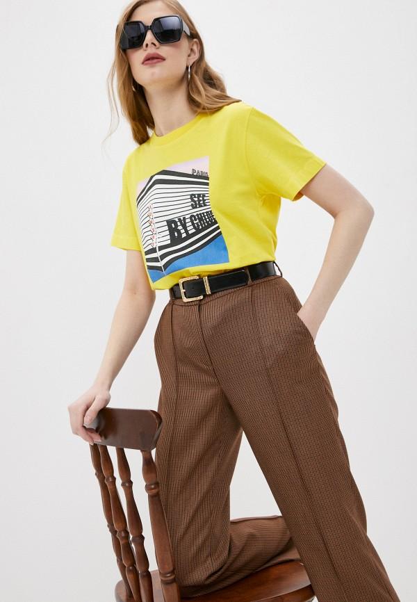 женская футболка see by chloe, желтая
