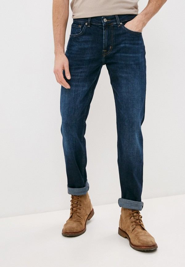 мужские зауженные джинсы 7 for all mankind, синие