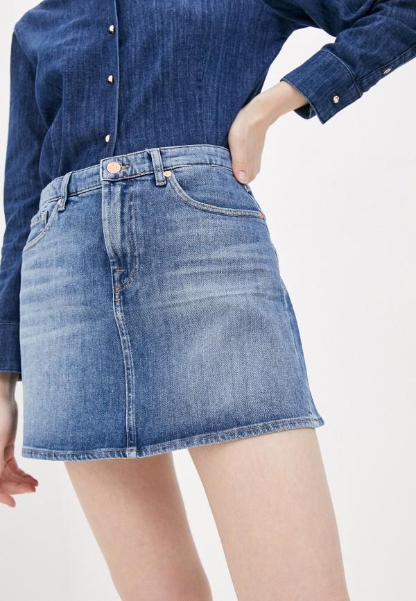 женская джинсовые юбка 7 for all mankind, синяя