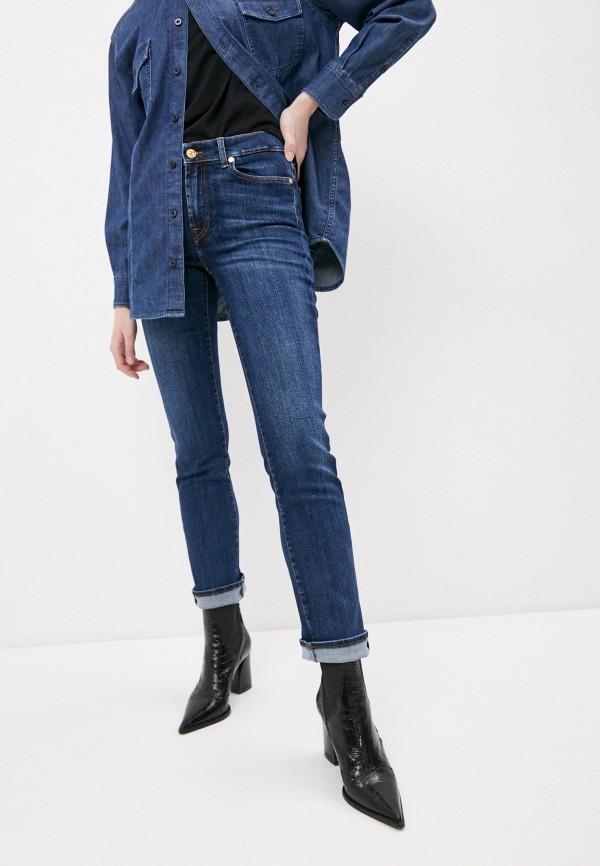 женские прямые джинсы 7 for all mankind, синие