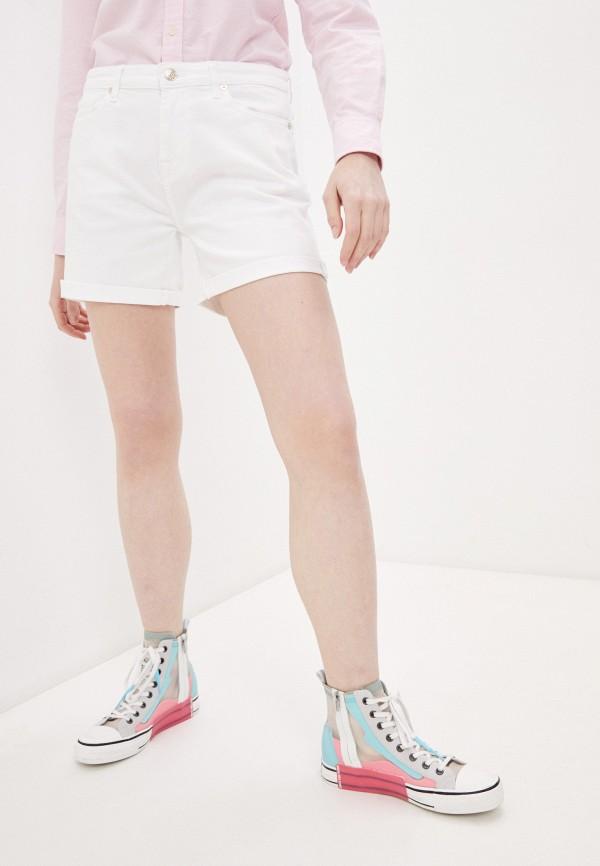 женские джинсовые шорты 7 for all mankind, белые
