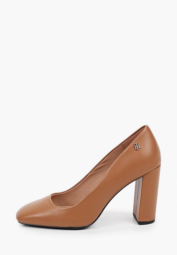 женские туфли с закрытым носом tommy hilfiger, коричневые