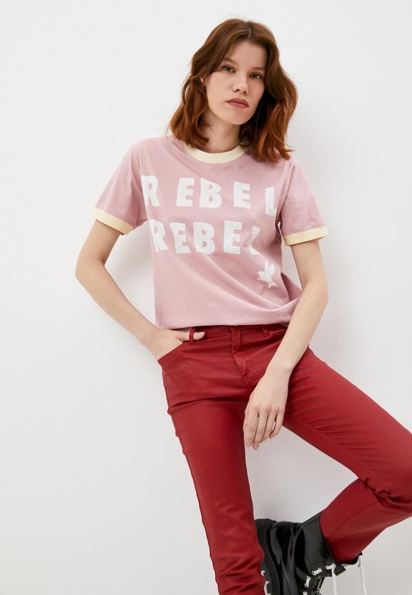 женская футболка one teaspoon, розовая