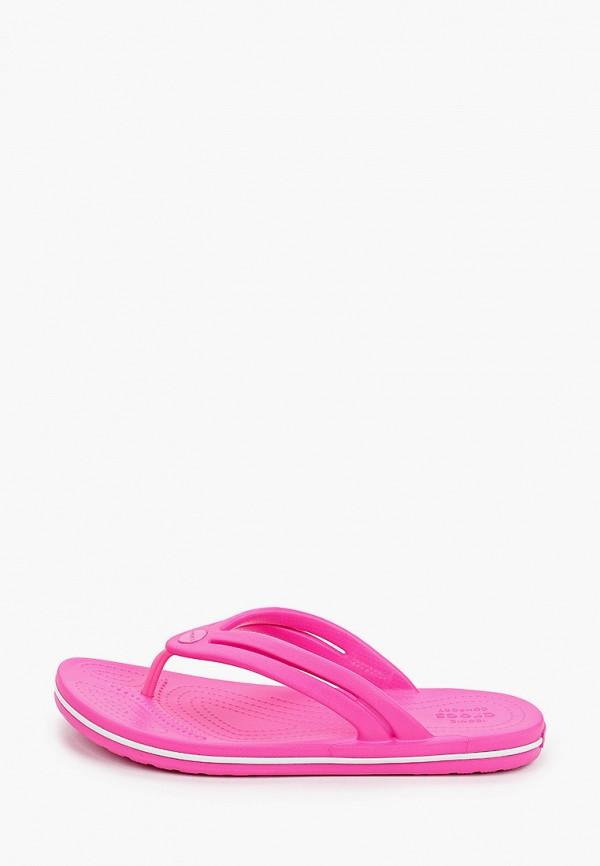 женские сланцы crocs, розовые