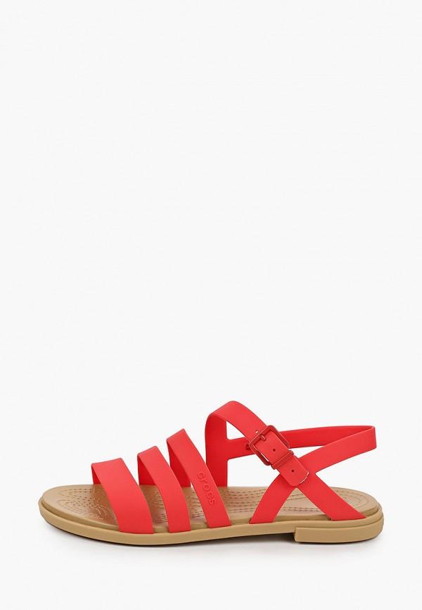женские сандалии crocs, красные