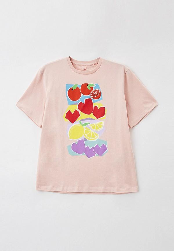 футболка с коротким рукавом stella mccartney для девочки, розовая