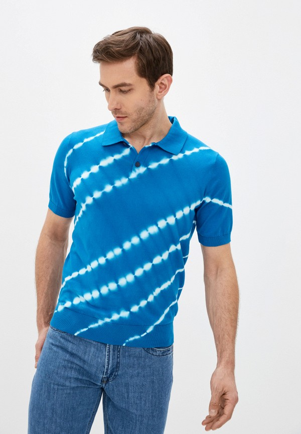 мужское поло bikkembergs, синее