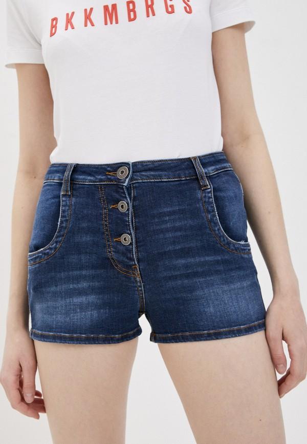 женские джинсовые шорты bikkembergs, синие