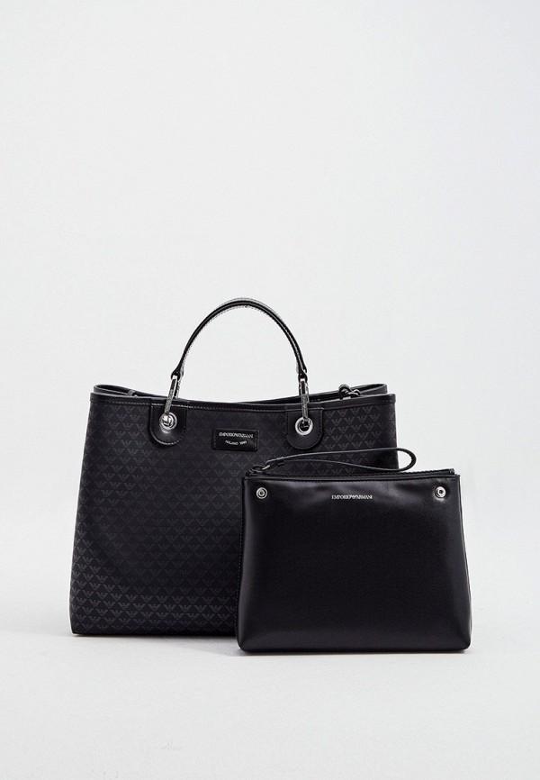 женская сумка с ручками emporio armani, черная