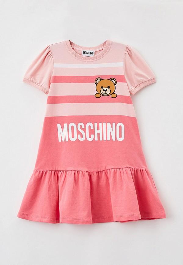 повседневные платье moschino kid для девочки, розовое