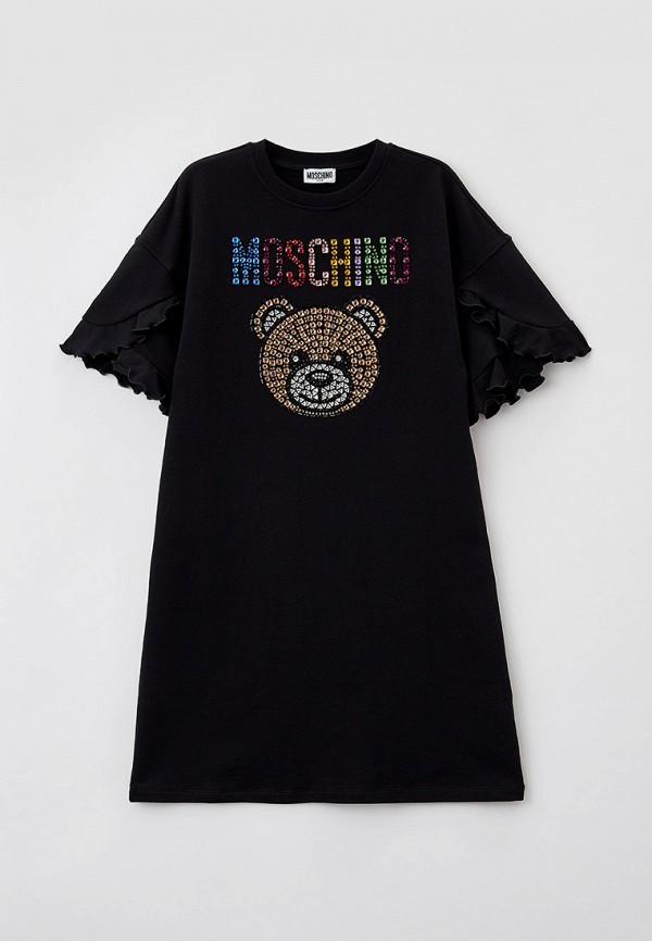 повседневные платье moschino kid для девочки, черное
