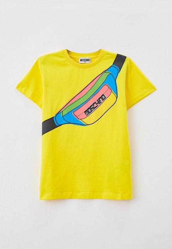 футболка с коротким рукавом moschino kid для мальчика, желтая