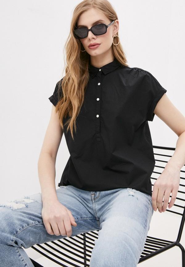 женская рубашка с коротким рукавом woolrich, черная
