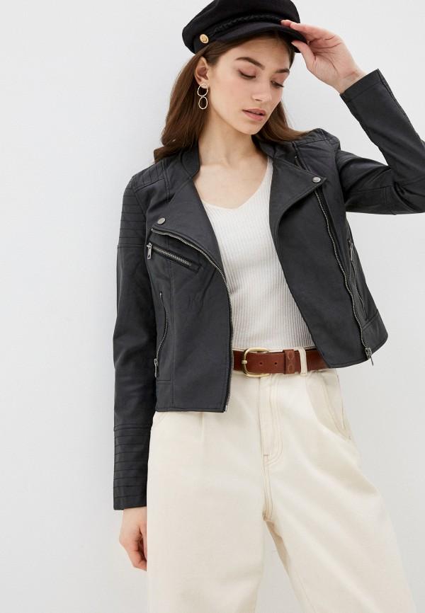 женская куртка косухи vero moda, черная