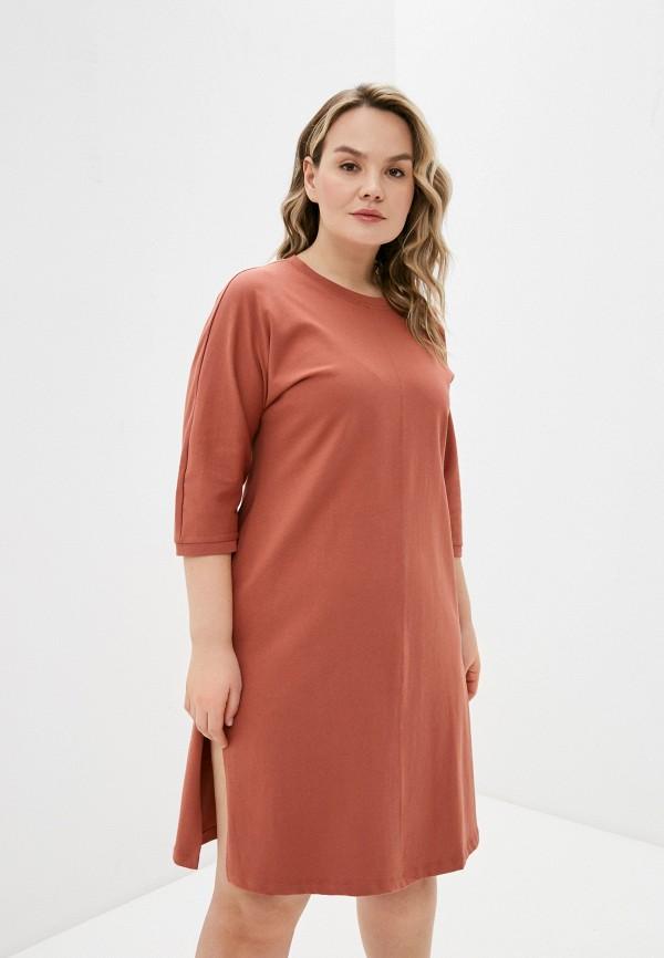 женское платье vero moda curve, коричневое