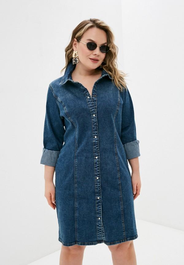 женское джинсовые платье vero moda curve, синее