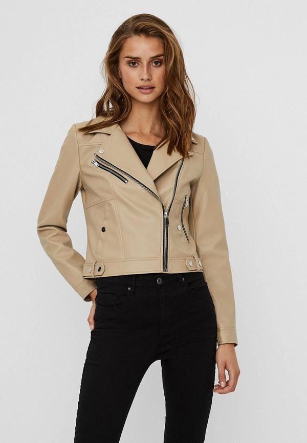 женская куртка косухи vero moda, бежевая