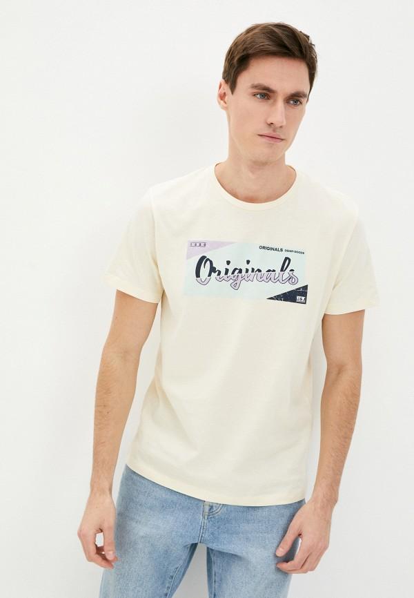 мужская футболка с коротким рукавом jack & jones, желтая
