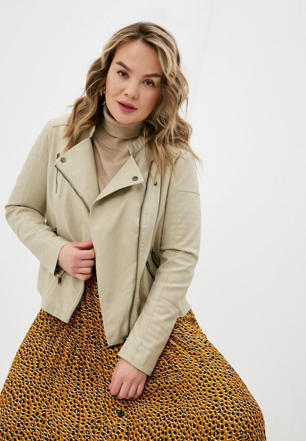 женская куртка косухи only carmakoma, бежевая