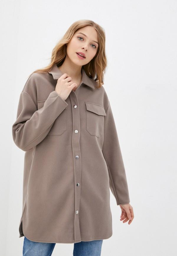 женское пальто only, коричневое