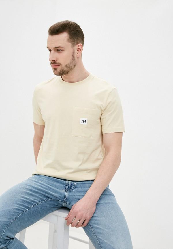 мужская футболка с коротким рукавом selected homme, желтая