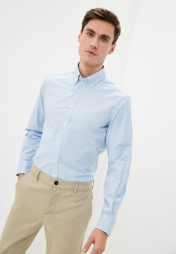 мужская рубашка с длинным рукавом hackett london, голубая