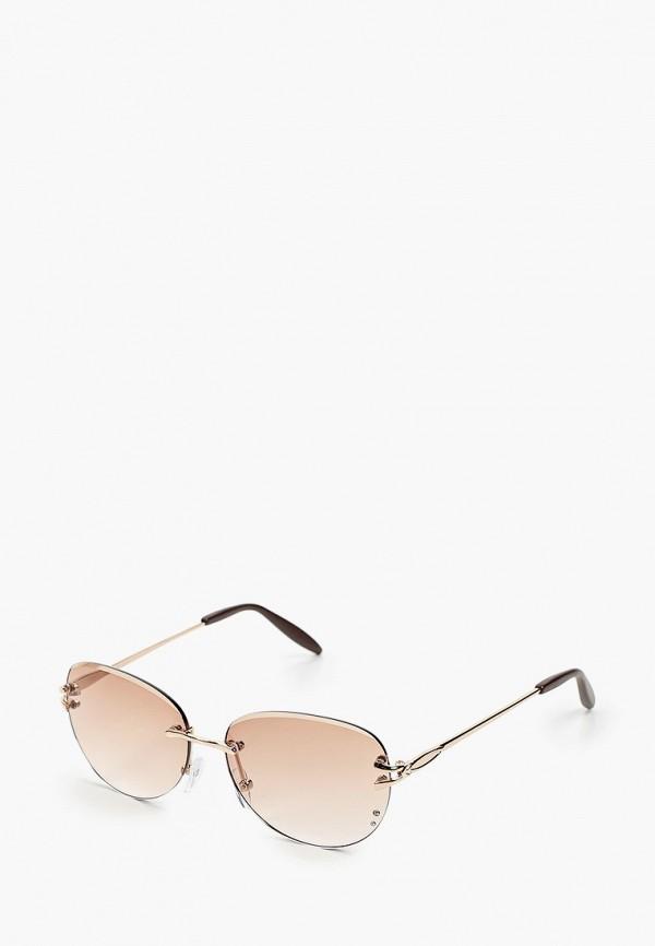 женские круглые солнцезащитные очки fabretti, золотые