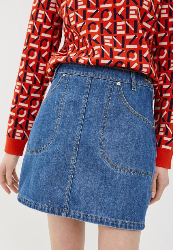 женская джинсовые юбка kenzo, синяя