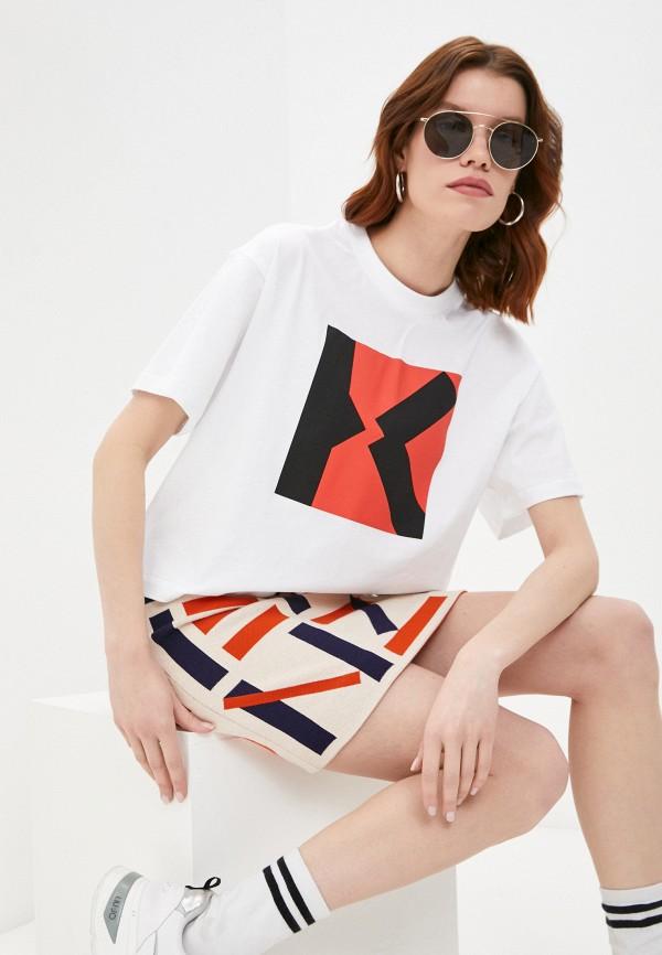 женская футболка kenzo, бежевая