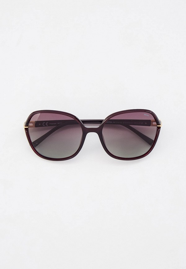 женские круглые солнцезащитные очки invu, бордовые