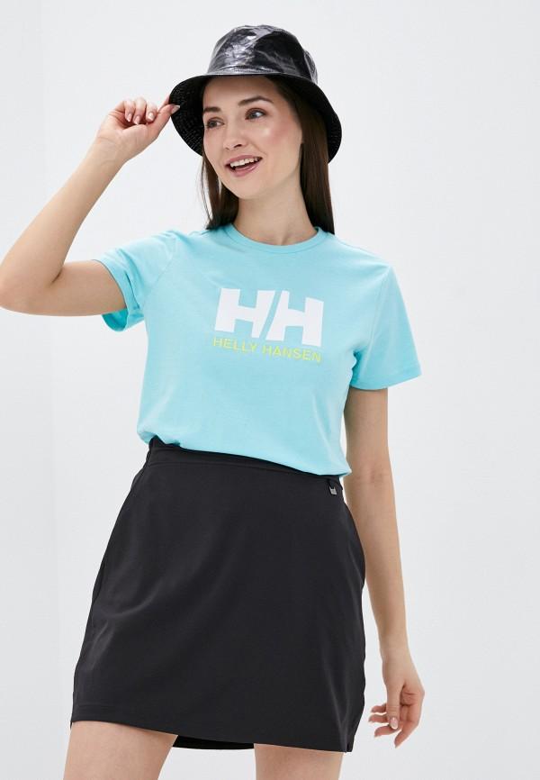 женская спортивные футболка helly hansen, бирюзовая