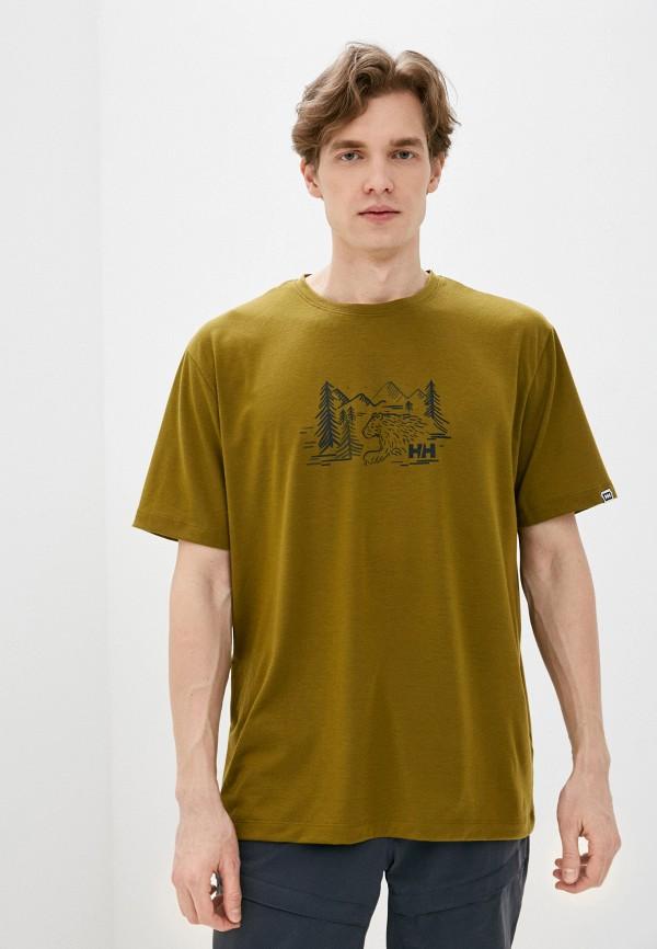 мужская спортивные футболка helly hansen, хаки