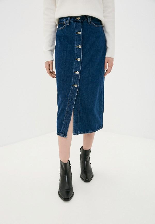 женская джинсовые юбка banana republic, синяя