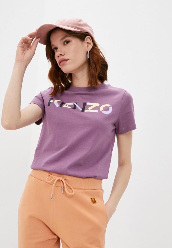 женская футболка kenzo, фиолетовая