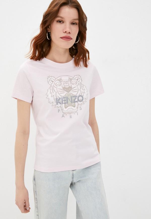 женская футболка kenzo, розовая