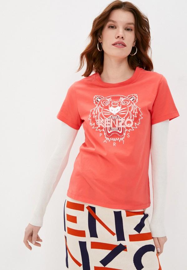 женская футболка kenzo, красная