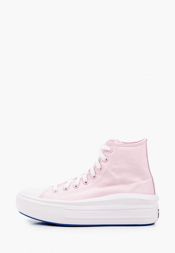женские высокие кеды converse, розовые