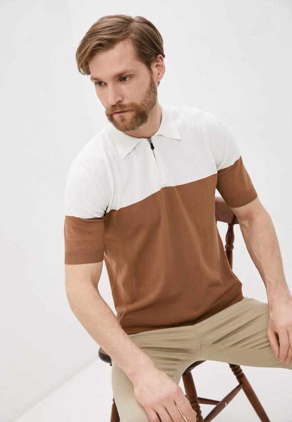 мужское поло eleventy, коричневое