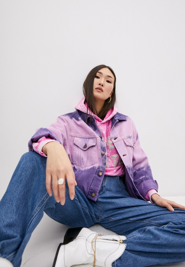 женская джинсовые куртка forte dei marmi couture, розовая