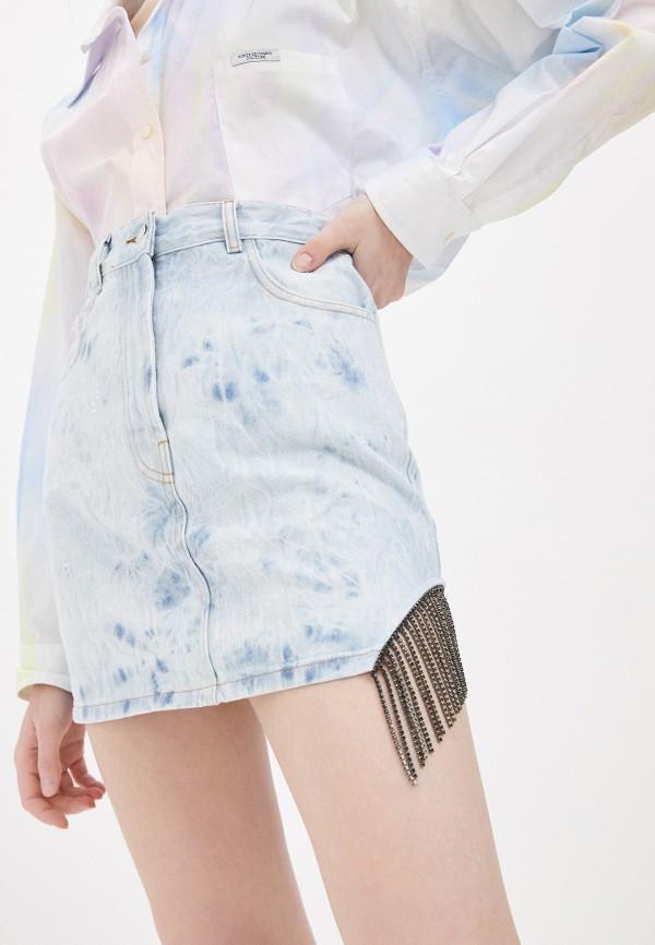 женская джинсовые юбка forte dei marmi couture, голубая