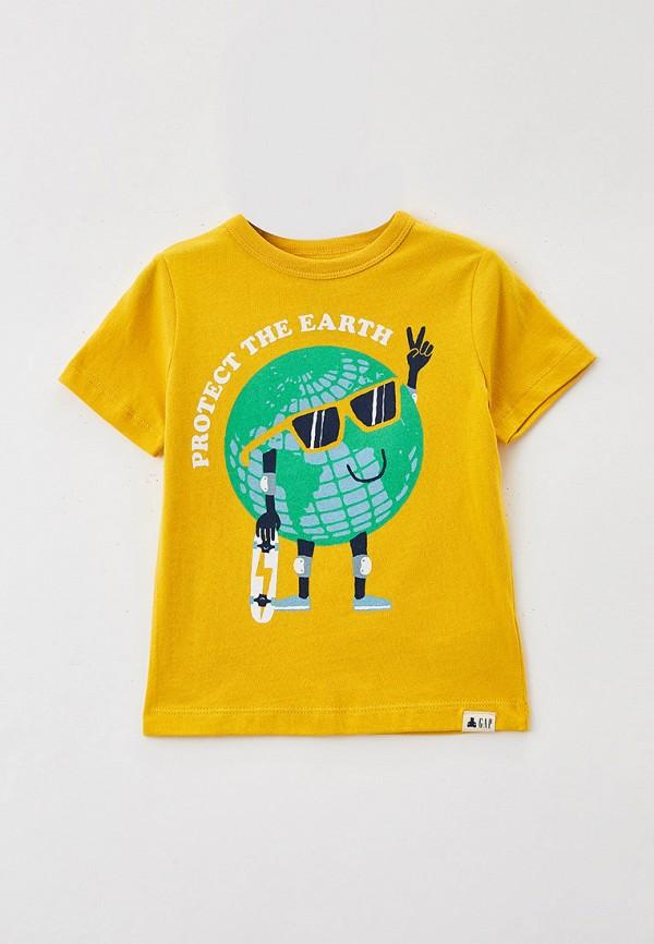 футболка с коротким рукавом gap для мальчика, желтая