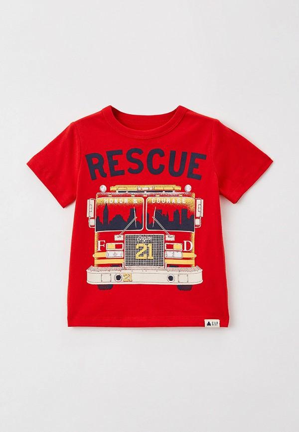 футболка с коротким рукавом gap для мальчика, красная