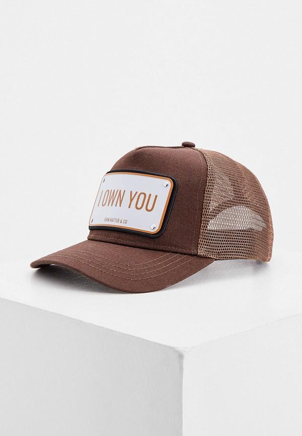 мужская бейсболка john hatter & co, коричневая
