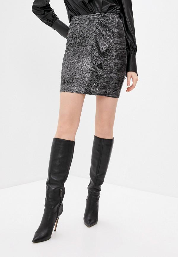 женская прямые юбка maje, серебряная
